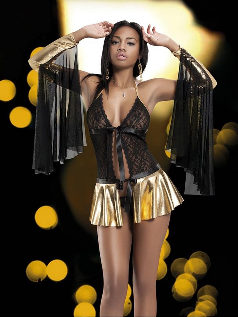 altın sarısı fantezi elbise fk1411