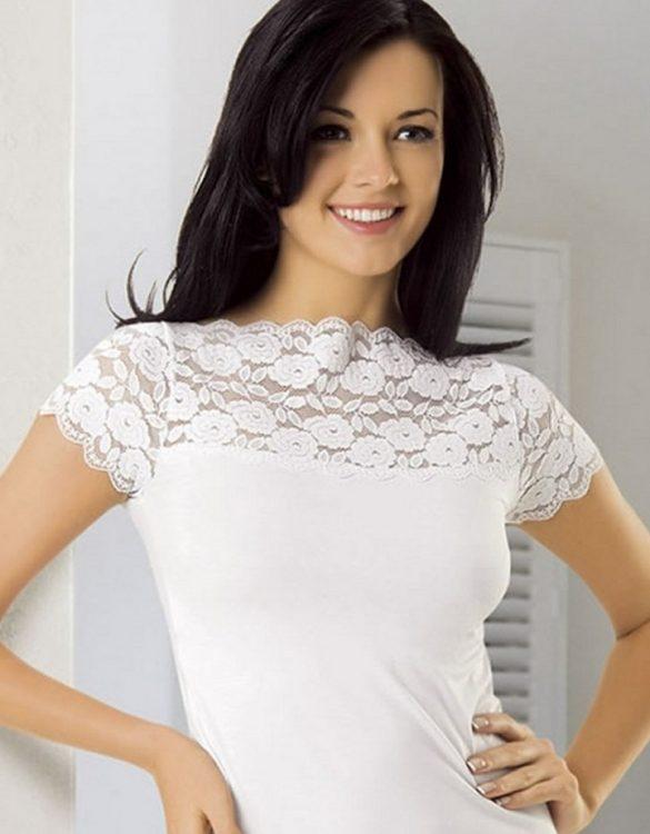 beyaz omuzları dantelli bayan t-shirt fk1657