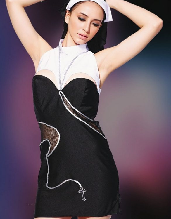 fantazi siyah rahibe kostümü fk1166