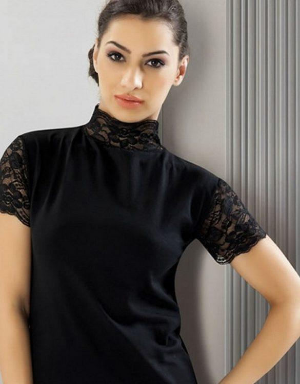siyah boğazı dantelli t-shirt fk1554