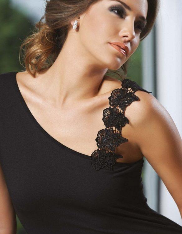 siyah dantelli bayan t-shirt fk790