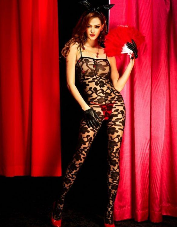 siyah desenli fantazi vücut çorabı fk1179
