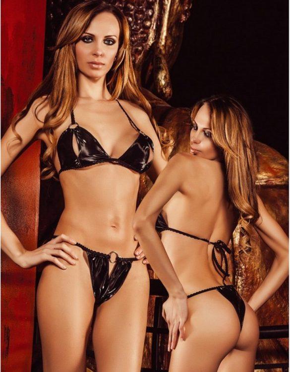 siyah seksi deri sütyen takımı fk392