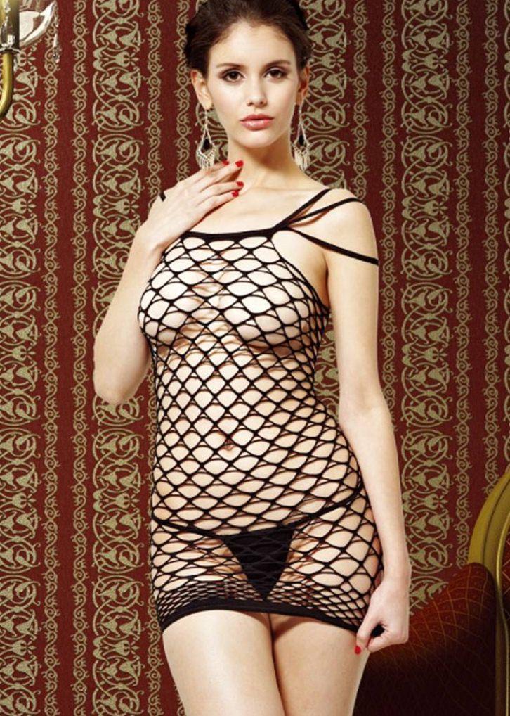 siyah seksi fileli elbise fk428