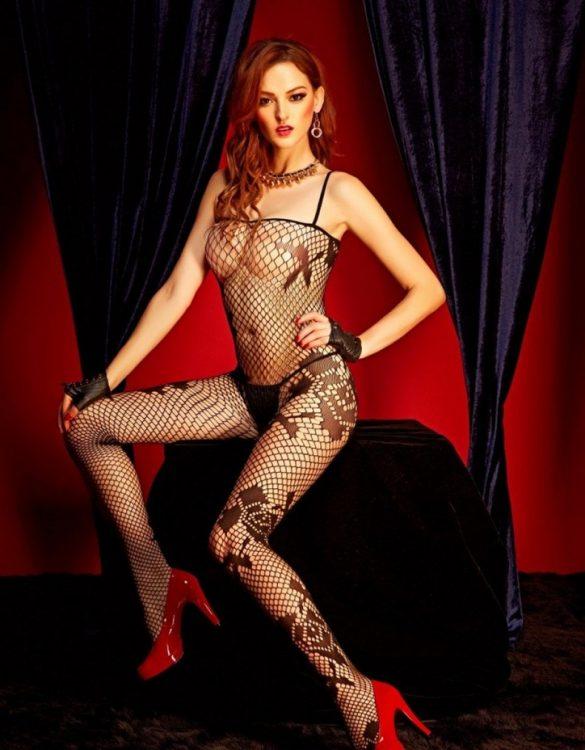 siyah seksi fileli vücut çorabı fk643