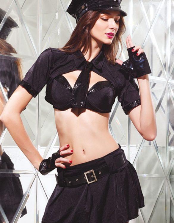 siyah seksi kadın polis kostümü fk929