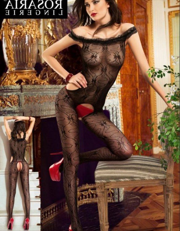 siyah transparan dantelli vücut çorabı fk1512