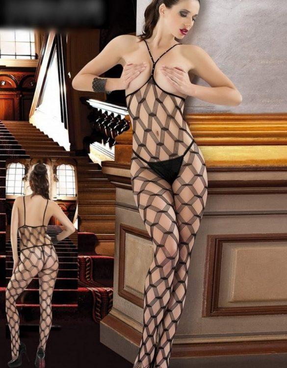baklava desenli kadın vücut çorabı fk3461