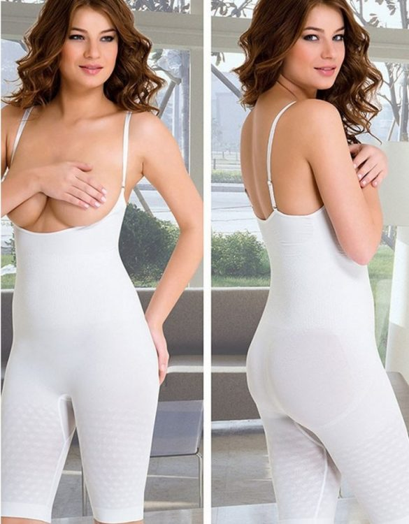 beyaz bayan dikişsiz vücut korse fk1768