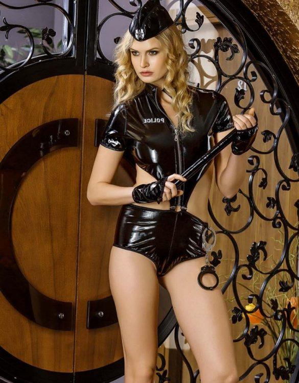 deri kadın polis kostümü fk3258