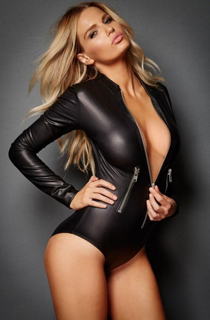 fermuarlı seksi siyah body fk3274
