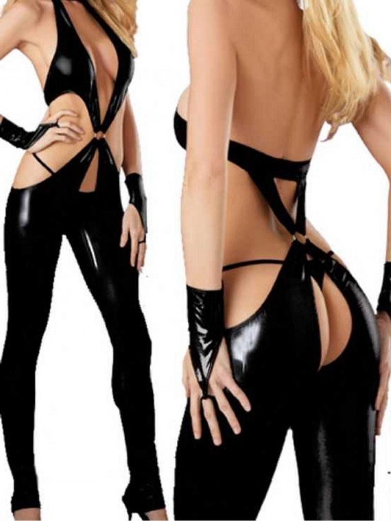 halkalı siyah deri kostüm fk2468