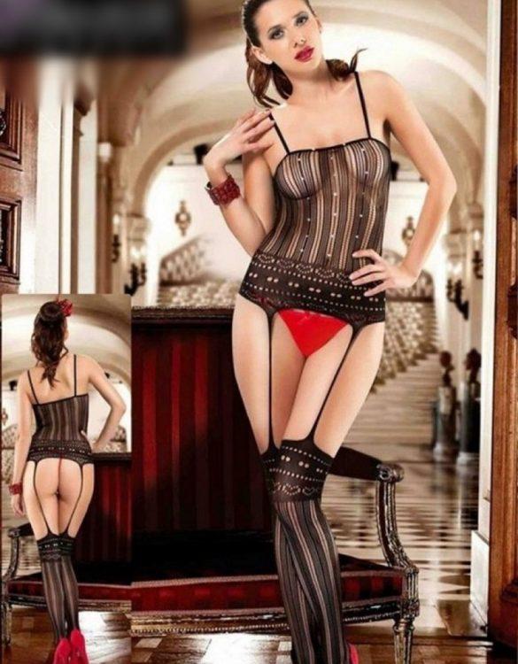 seksi desenli siyah vücut çorabı fk2242