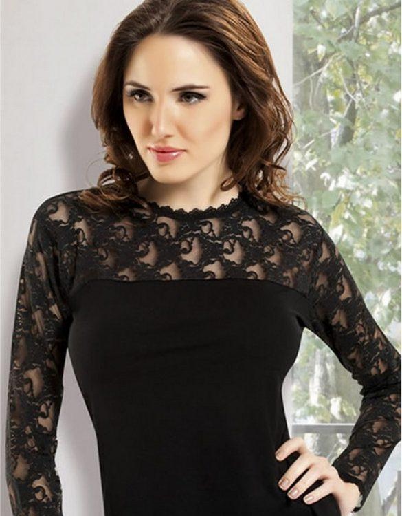 siyah dantelli uzun kollu t-shirt fk1863