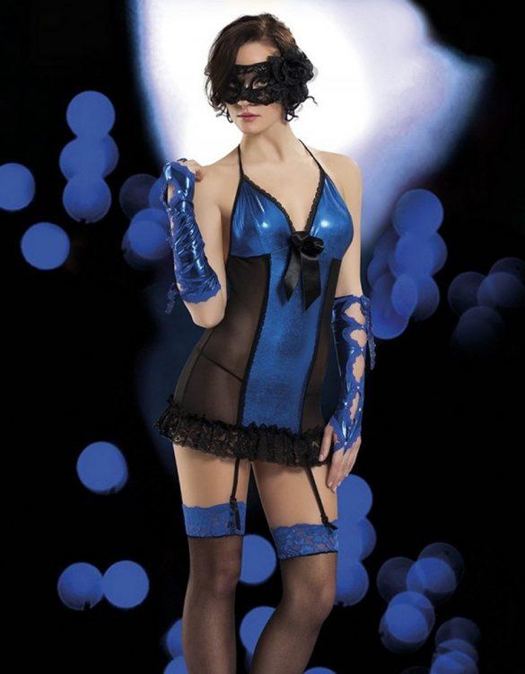 siyah tüllü mavi gecelik fk2528