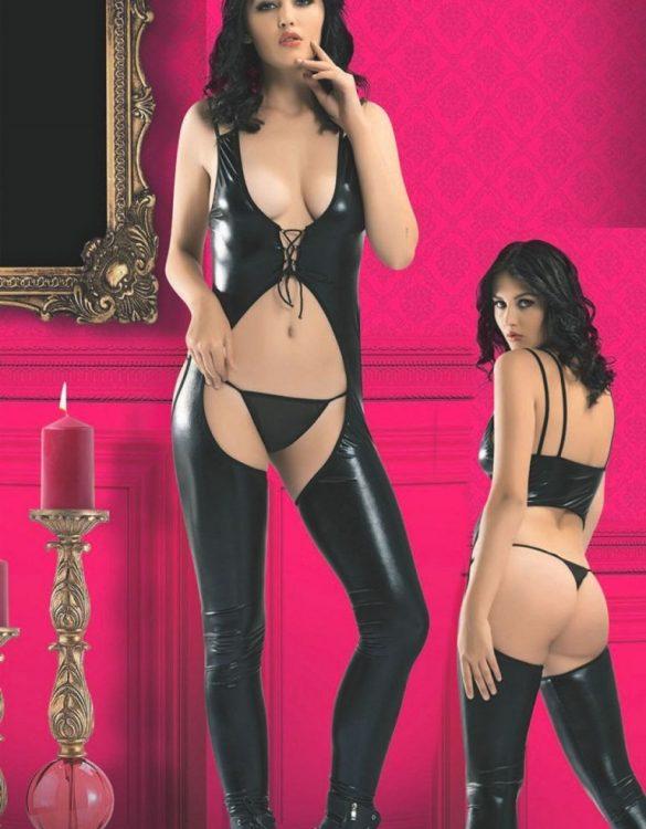 erotik siyah deri dansçı kostümü fk4062