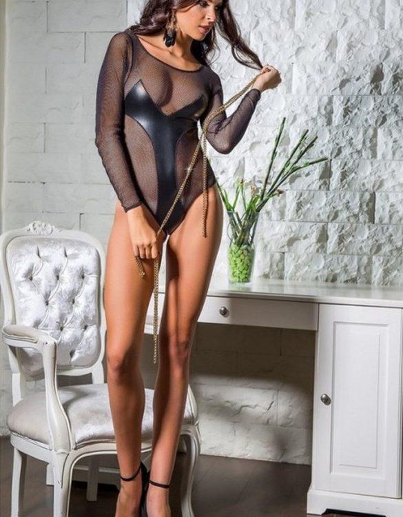 erotik uzun kollu siyah mayokini fk3869
