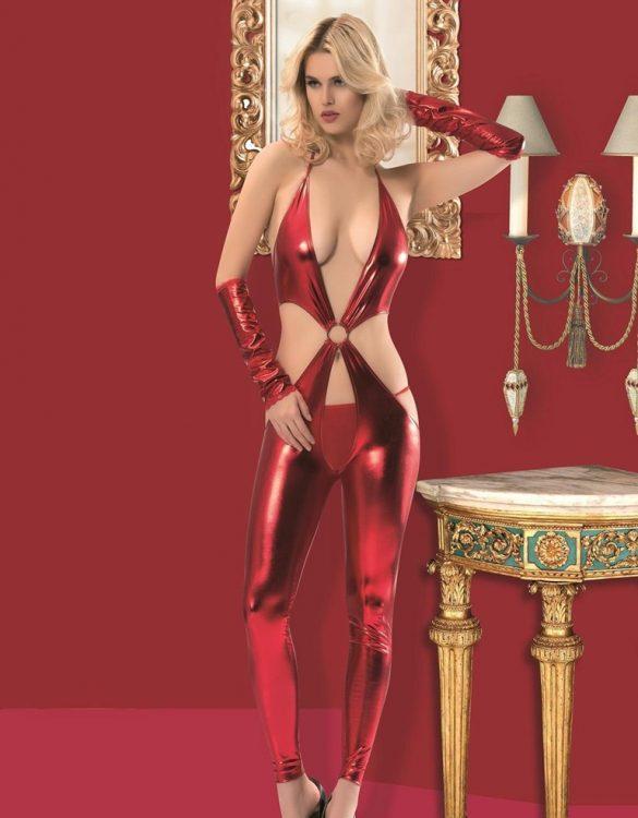 kırmızı deri fantezi kostüm fk4320