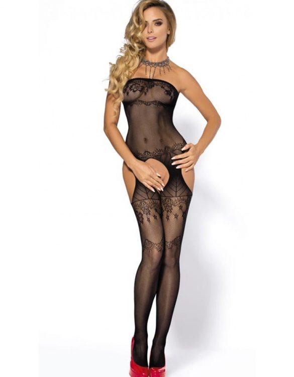 siyah askısız vücut çorabı fk3903