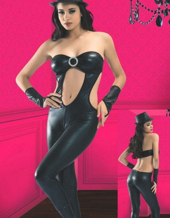 straplez siyah deri dansçı kostümü fk4004