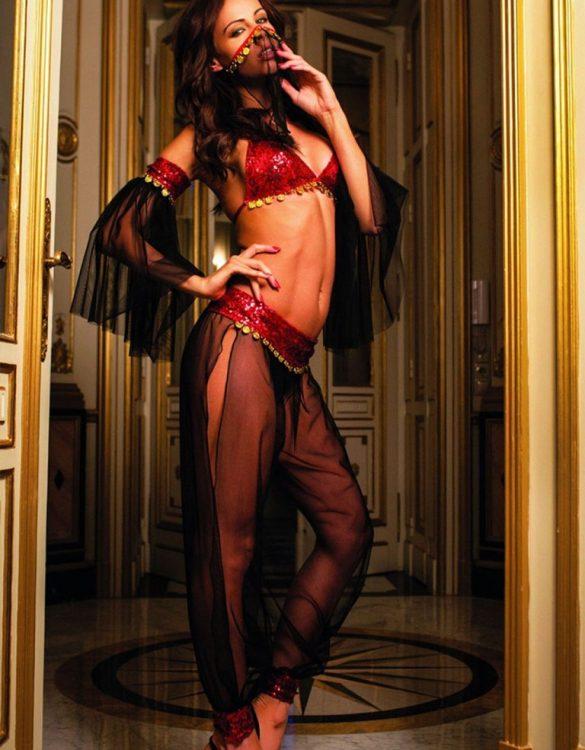 tül peçeli dansöz kostümü fk3705