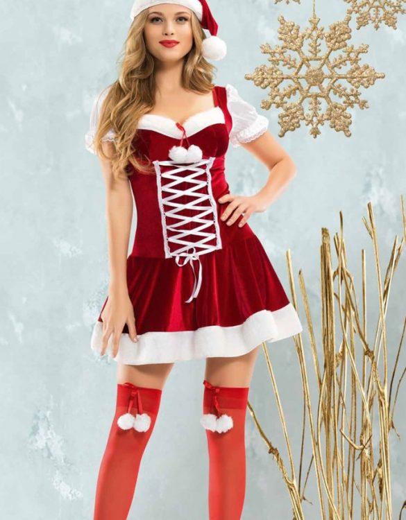 erotik kırmızı yılbaşı kostümü fk4648