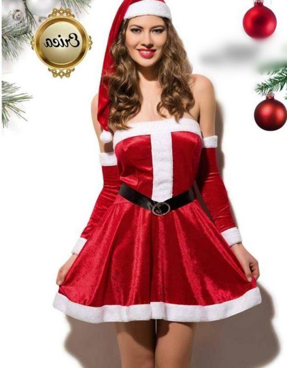 kırmızı straplez yılbaşı kız kostümü fk4621