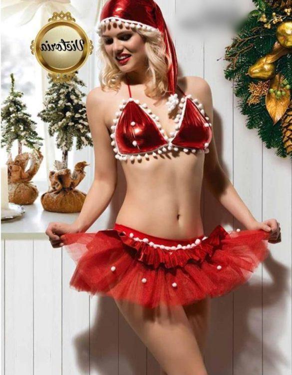 kırmızı tüllü mini yılbaşı kostümü fk4642